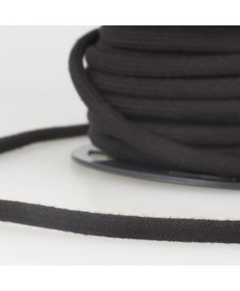 Cordon tressé coton rond 8 mm Noir
