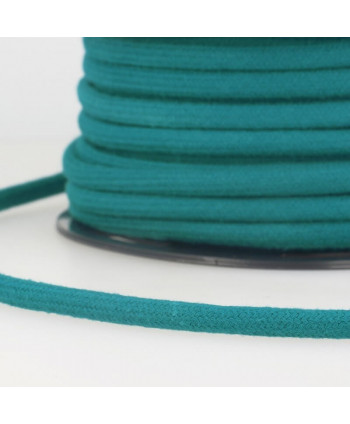 Cordon tressé coton rond 8 mm Bleu canard