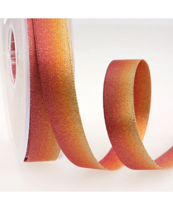 Ruban satin irisé Orange rouge 15 mm