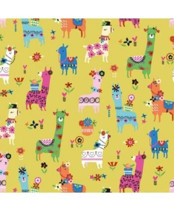Tissu Dashwood Fiesta Jaune - Lamas mexicains