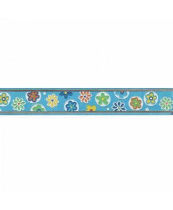 Ruban jacquard bleu fleurs 20mm