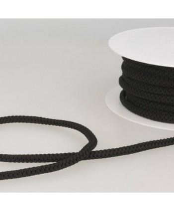 Cordon tricoté 6 mm Noir