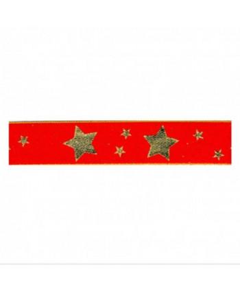 Ruban étoiles Rouge 25 mm