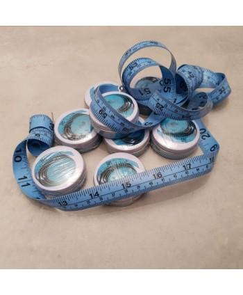 Centimètre couture avec boîte métal 150cm Bleu