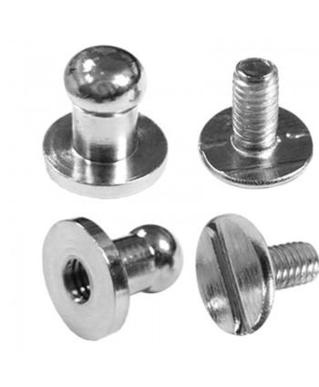 Boutons de col à vis 5 mm Argent