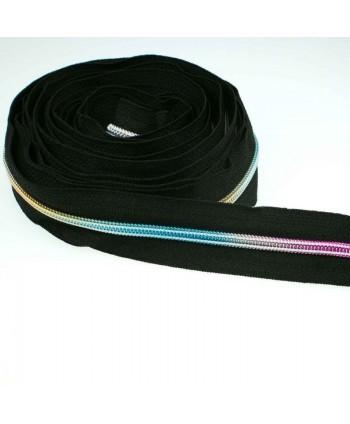Fermeture au mètre 5 mm Noir maille plastique couleurs