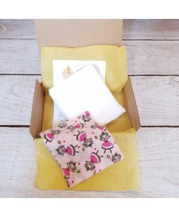Kit Prêt-à-coudre Lingettes bébé fille Princesses/blanc