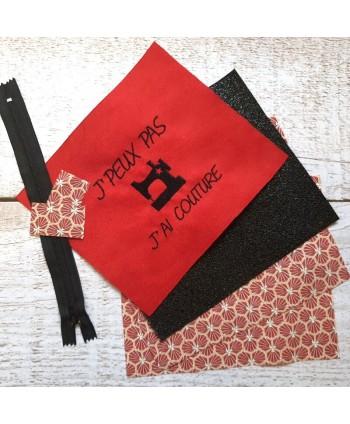 Kit Prêt-à-coudre Pochette Coupon brodé J'peux J'ai couture rouge 1