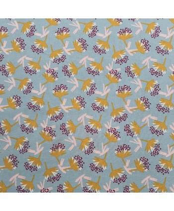 Tissu Coton enduit Omby Fleurs Nil ocre