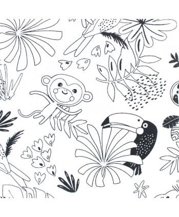 Tissu à colorier Payakolo - Animaux tropicaux