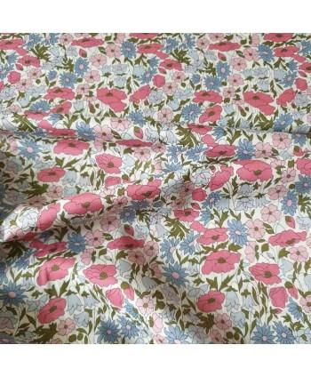 Tissu Liberty Poppy et Daisy - Fleurs bleues et roses