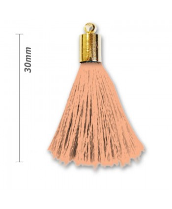 Pompon déco 30 mm avec tête laiton - Saumon