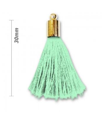 Pompon déco 30 mm avec tête laiton - Vert d'eau