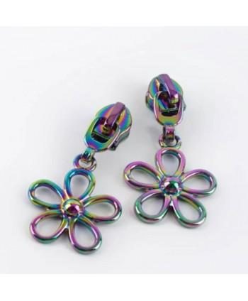 Curseur Fleur Coloré pour zip maille 5 mm