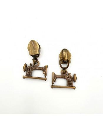 Curseur Machine à coudre Bronze pour zip maille 5 mm