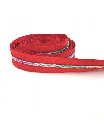 Fermeture au mètre 5 mm Rouge maille plastique couleurs