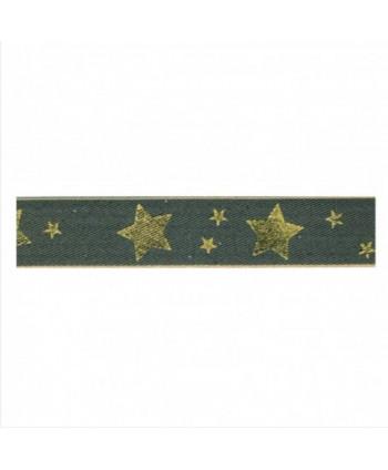 Ruban étoiles Gris 25 mm