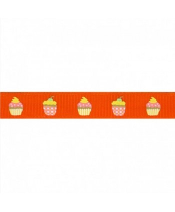 Ruban Fantaisie Cupcakes Orange 17 mm