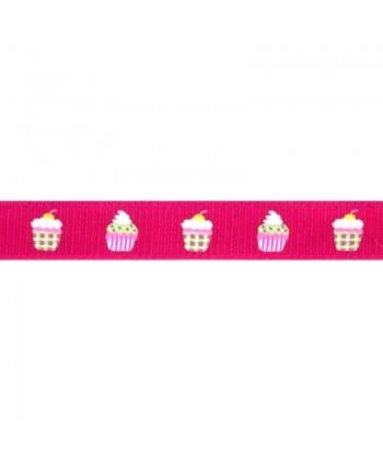 Ruban Fantaisie Cupcakes Fuchsia 17 mm