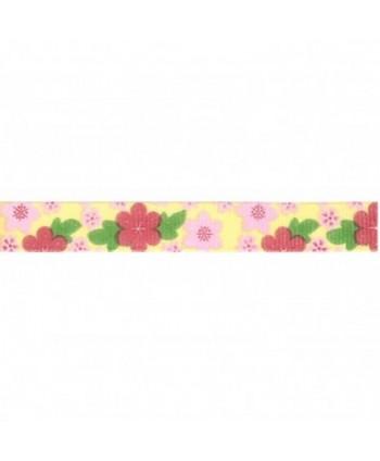 Ruban Fantaisie Fleurs Jaune 10 mm