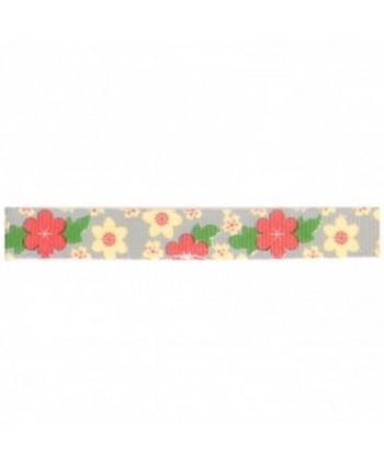 Ruban Fantaisie Fleurs Gris 10 mm