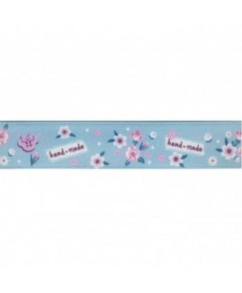 Ruban Fleurs Hand Made Bleu 16 mm