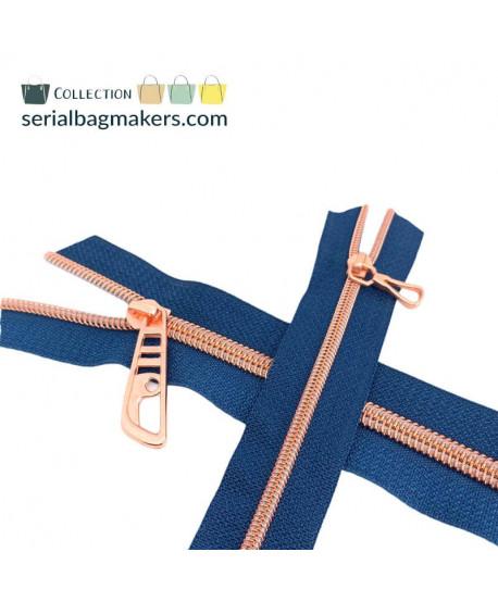 Fermeture au mètre 5 mm Bleu Canard maille or rose