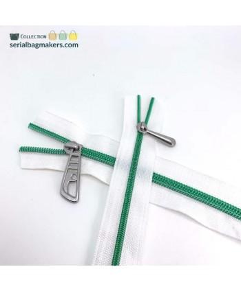 Fermeture au mètre 3 mm Blanc maille vert