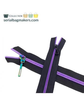 Fermeture au mètre 5 mm Noir maille violet