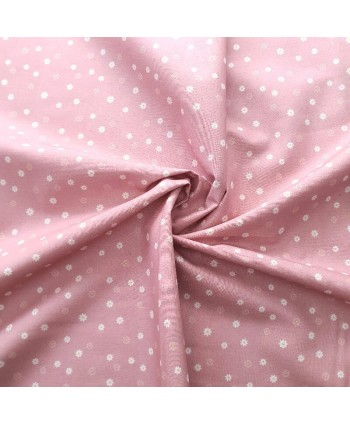 Popeline de coton bio Rose Fleurs