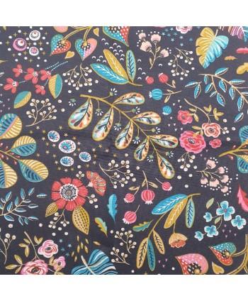 Tissu Coton enduit Ancolie Ardoise