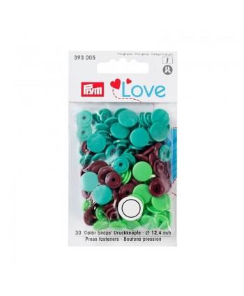 "Prym Love pression ""Color Snaps"" Rond Vert/vert clair/marron"