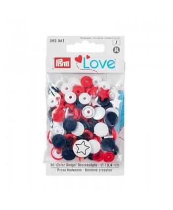 """Prym Love Boutons pression """"Color Snaps"""" étoile Rouge/blanc/marine blister"""