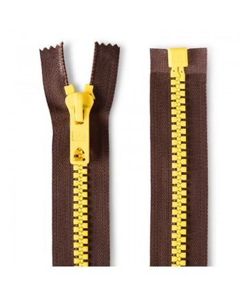Fermeture à glissière bicolore 40cm Brun foncé-jaune  Prym